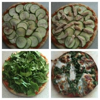 Claire's homemade pizza:  whole wheat greek pita, light sauce, layer of zucchini, chicken, tons of fresh chopped spinach, top with fresh mozzarella.... absolutely delish and healthy!  YUM!Fresh Chops, Claire'S Homemade, Greek, Chops Spinach, Better Living, Absolute Delish, Fresh Mozzarella, Foodies Food, Dinner Recipe