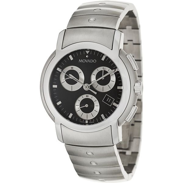 Movado Men's 'Movado SL' Stainless Steel Chronograph Watch ($666) ❤ liked on Polyvore featuring men's fashion, men's jewelry, men's watches, black, mens watches, blue dial mens watches, mens stainless steel watches, mens chronograph watches and mens chronograph watch
