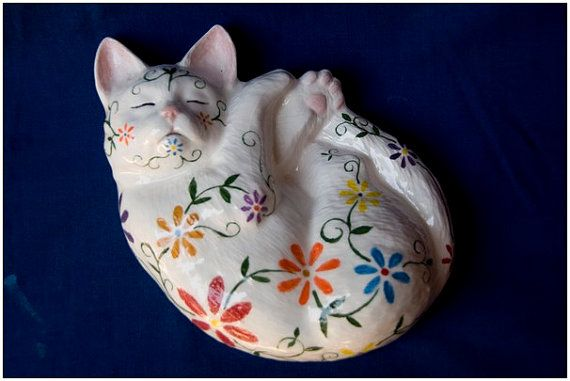 Ceramic ornament, Zen kitty, multi-colour flowers on white background, hand made & painted, ooak