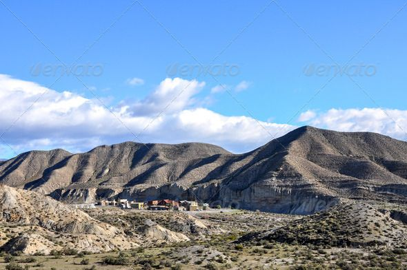 Desierto de Tabernas, Almeria (Spain) ...  Almeria, Andalusia, desert, europe, far, far west, horizontal, mountain, nobody, photography, spain, sunny, village, west