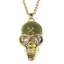 13068 collar metal chapado en dorado,calavera verde y cristales blancos  37