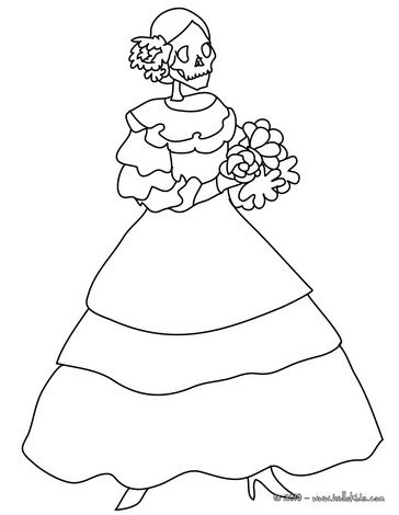 Catrina skeleton coloring page