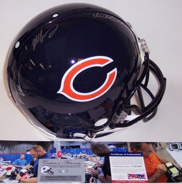 Dick Butkus, Mike Singletary & Brian Urlacher Autographed Hand Signed Chicago Bears Full Size Authentic Helmet - PSA/DNA