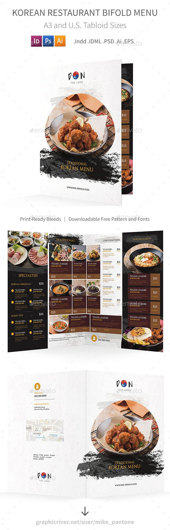 korean restaurant bifold halffold brochure template psd vector eps indesign indd ai. Black Bedroom Furniture Sets. Home Design Ideas