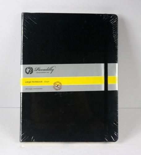Picadilly-Large-Graph-Notebook-NEW-SEALED-10-x-7-1-4-034-approx-Black-Cover-240-pg