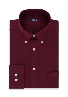 Izod Men's Regular Fit All Over Stretch Dress Shirt - Red - 16-16.5 36/37