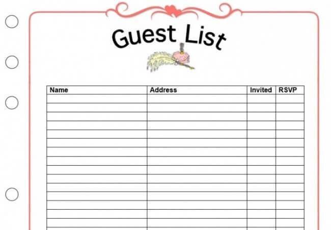 Wedding Guest List Template Google Docs Wedding Guest List Template Wedding Guest List Guest List Template