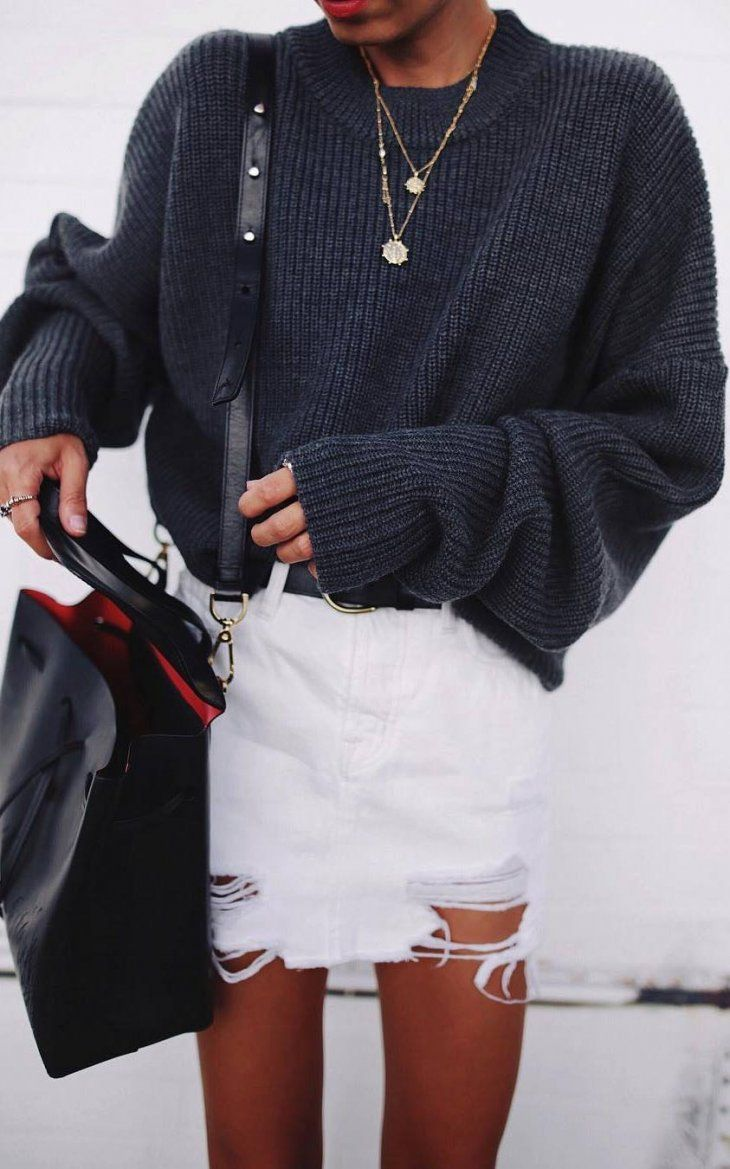 how to style a white denim skirt  oversized sweater + bag