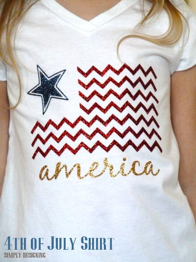 Fourth of July T-shirts using heat transfer vinyl. SO cute! I need to make some of these!