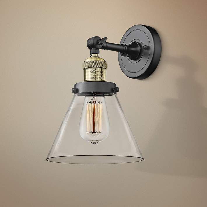 Large Cone 10 High Black And Brass Adjustable Wall Sconce 40w95 Lamps Plus Adjustable Wall Sconce Wall Sconces Sconces