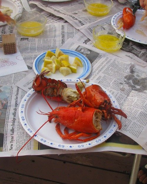 Penny065 and her family dig in to a delicious lobster feast on Prince Edward Island.
