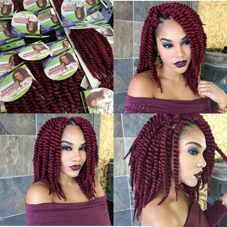 "Burgundy Havana Mambo Twist Crochet Hair Extensions 12"" Freetress Braid Hair Jumbo Afro"