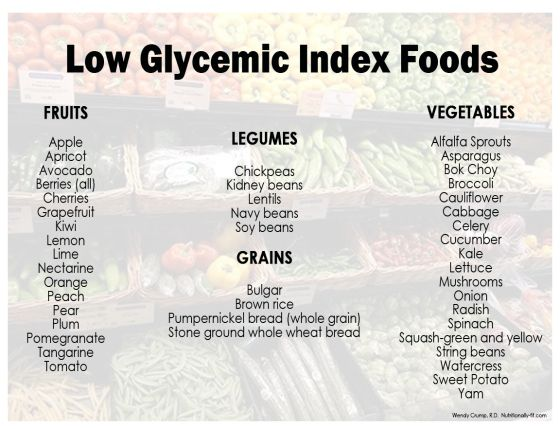 High Versus Low Glycemic Index Foods