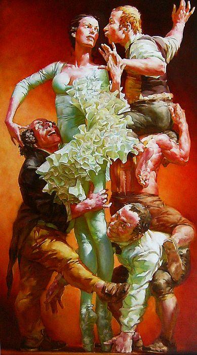 Alexei Ravski ~ Acrobatics, oil on linen, 70x24