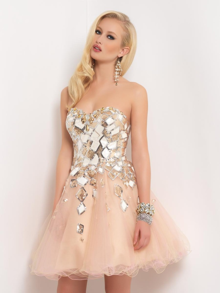 Red carpet drama! Magnificent prisms are filled with tonal and pastel stones, beads and jewels that rock your body. #prom2013 #blush #alexiadress #juniperdress #bedazzle #beads #jewels #champagne