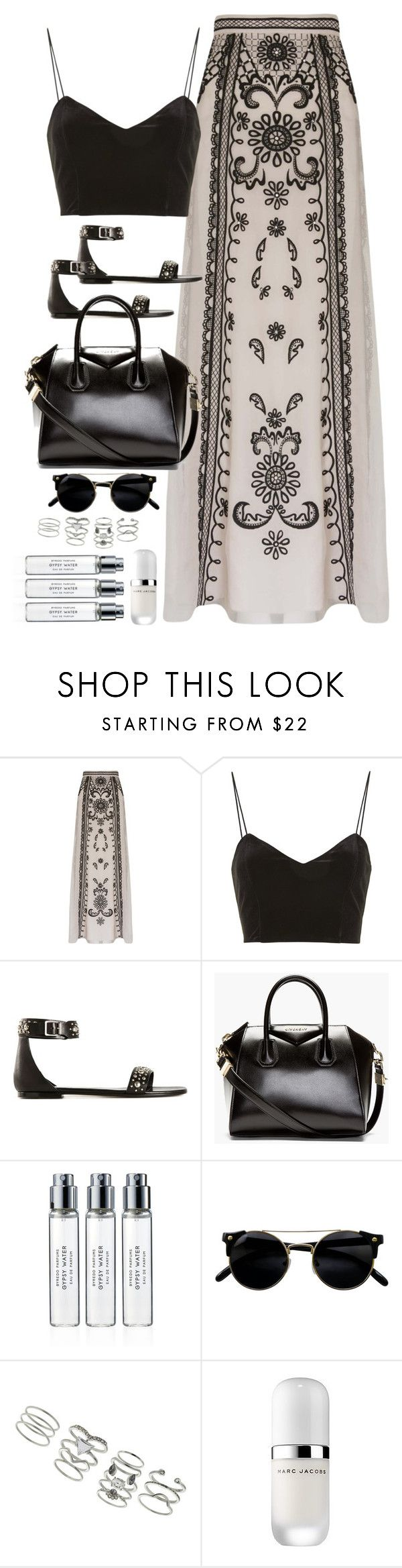 """Untitled#4443"" by fashionnfacts ❤ liked on Polyvore featuring Temperley London, Topshop, Yves Saint Laurent, Givenchy, Byredo, Miss Selfridge and Marc Jacobs"