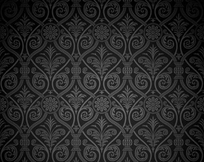 A dark gradient vector background with high quality grey damask ancient looking elements to decorate it.