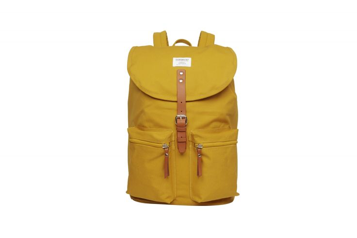 Backpack in polycotton with leather details