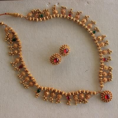 handcrafted silver goldplated kolhapuri saaj (necklace)