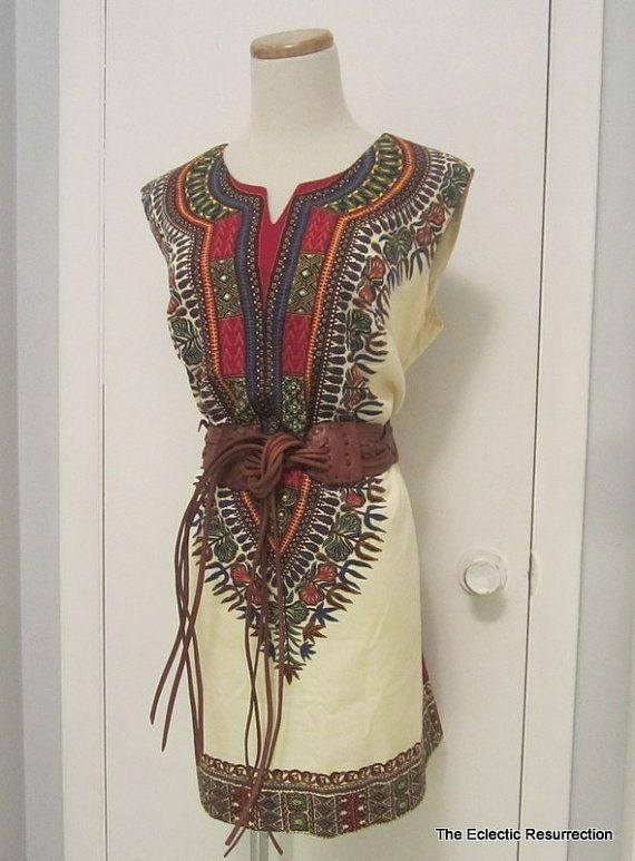 Vintage 1970s Dashiki  Dress Mini Dress Hippie Dress by linbot1, $40.00