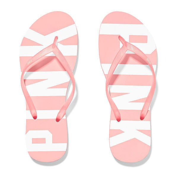 PINK Flip-Flop Shoes ($13) ❤ liked on Polyvore featuring shoes, sandals, flip flops, flats, victoria's secret, pink sandals, pink shoes, print shoes, rubber shoes and pattern flats