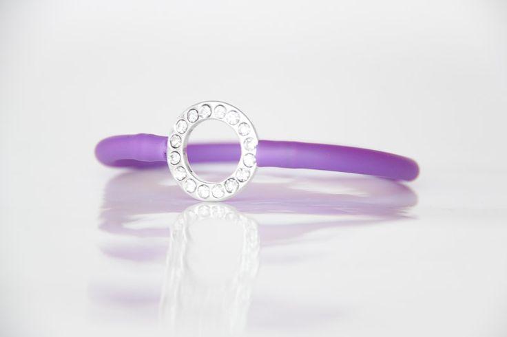 Diamante Circle Bracelet with Purple Tube Strap - Teelee - A Bits & Bobs Brand