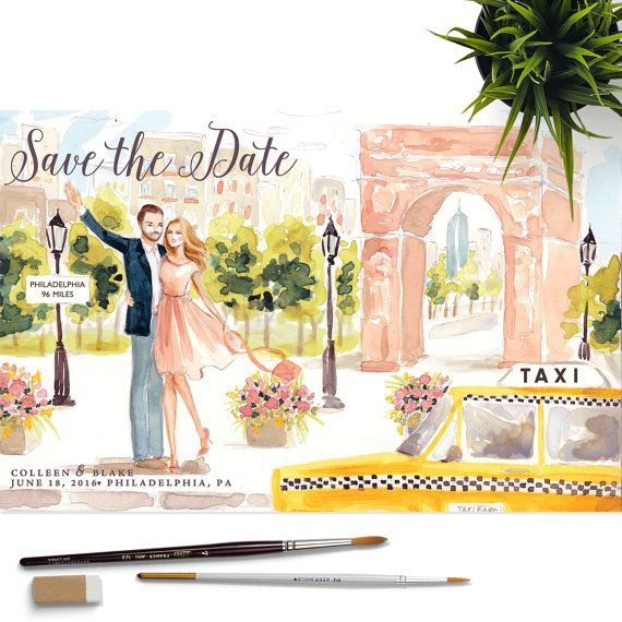 Well this might be the cutest thing ever.  Save the Date Illustration  Couple Portrait Wedding Bride by Reani