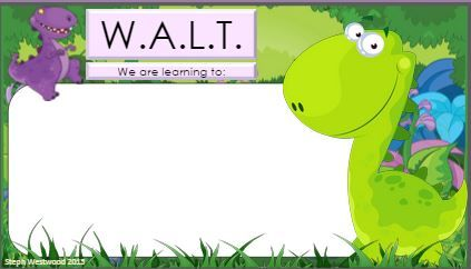 Dinosaur WALT and WILF signs. http://obwe.weebly.com/learning-intentions.html