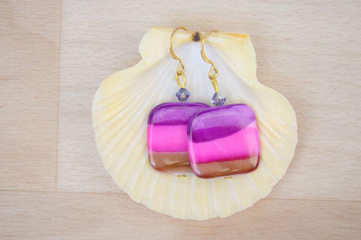 Square Seashell Earrings - Ombre Earrings - Sea Shell Jewelry - Purple-Hot Pink-Brown Earrings - Natural Jewelry - Dangle Earrings by SkadiJewelry on Etsy