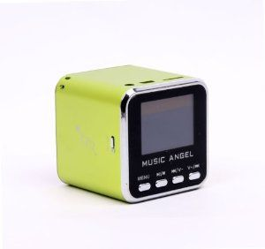 Music Angel mini speaker fm radio LED Screen for IPOD Iphone MD08 GREEN by I MUSIC ANGEL. $19.10. Black Music Angel Mini speaker Box with Screen Features: Deemed as perfect combination of classic and modern performance, and it is praised as masterwork of audio boxes New mini aluminum vibration film loud speaker which has clear alt and pure woof, the unique design makes tome performance perfect Use at anywhere you like Mini audio box with new concept integral stereo portable mo...
