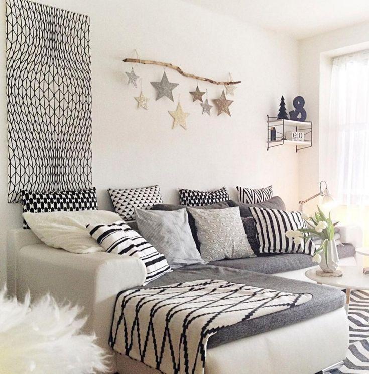 ... Wohnzimmer Gemu00fctlich Einrichten Haus Design Ideen   Wohnzimmer Weis Grau  Blau ...