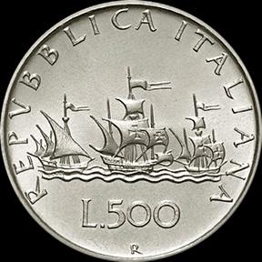 500 Lire italiane - retro (500 Italian Lira - back)  Le Caravelle