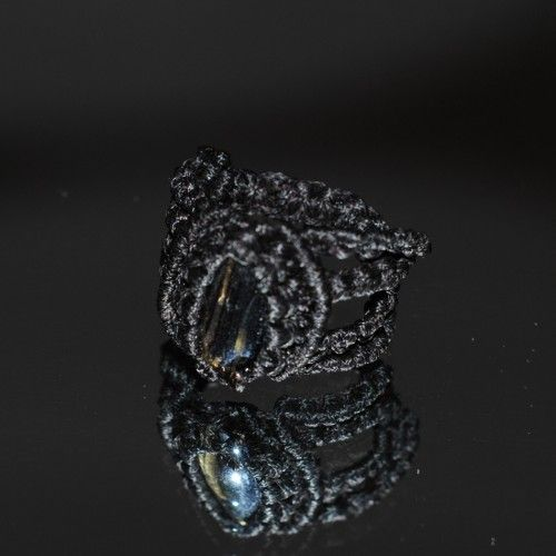 Unique handmade macramé Ring, Waxed black thread, 2,8cm. diameter http://reignofknots.com/index.php?route=product/category&path=17