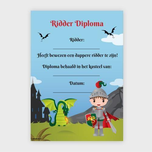 Diploma voor stoere ridders Kinderen vinden het heel leuk om een diploma te krijgen. Vooral na een heel leuk kinderfeestje. Het is een prachtige waardering en een leuke herinnering aan deze fijne dag.