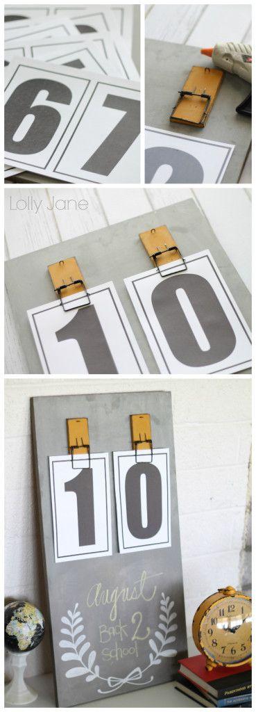 Easy DIY chalkboard calendar tutorials with FREE printable numbers!