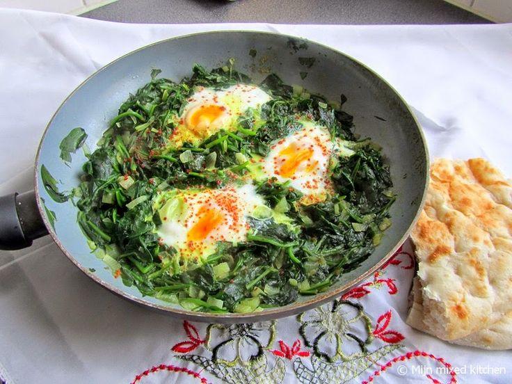 Mijn mixed kitchen: Ispanaklı yumurta (Turkse spinazie met ei) met turks brood
