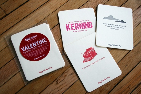 Valentine's Day cards to clients as a self-promotion. Three letterpress cards and Crane's Lettra. 1331design.com.