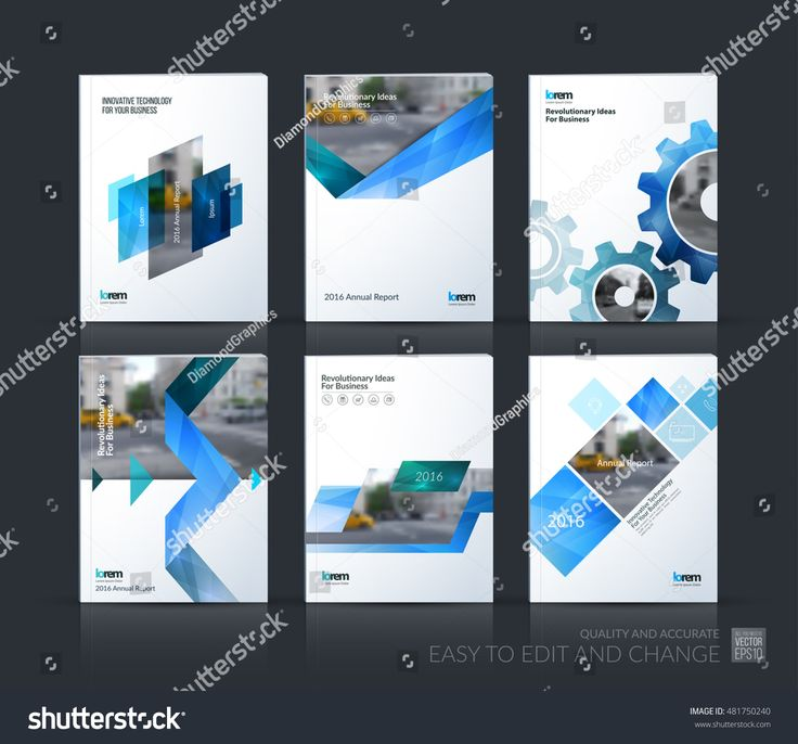 Brochure template layout, cover design annual report, magazine, flyer, leaflet in A4 with blue gear, triangles, arrow, ribbon with overlap effect for …