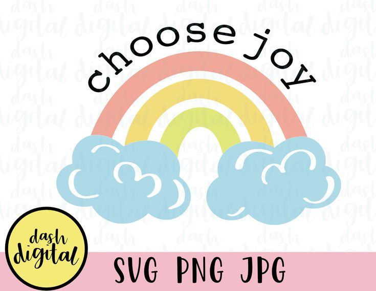 Download Choose Joy Svg, Rainbow Svg PNG Jpg, Rainbow with Clouds ...