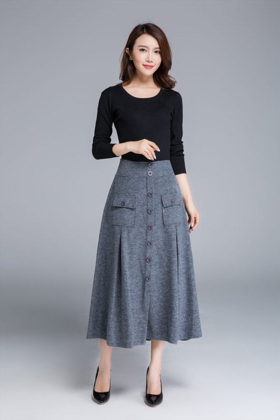 grey skirt wool skirt button skirt midi skirt warm by xiaolizi
