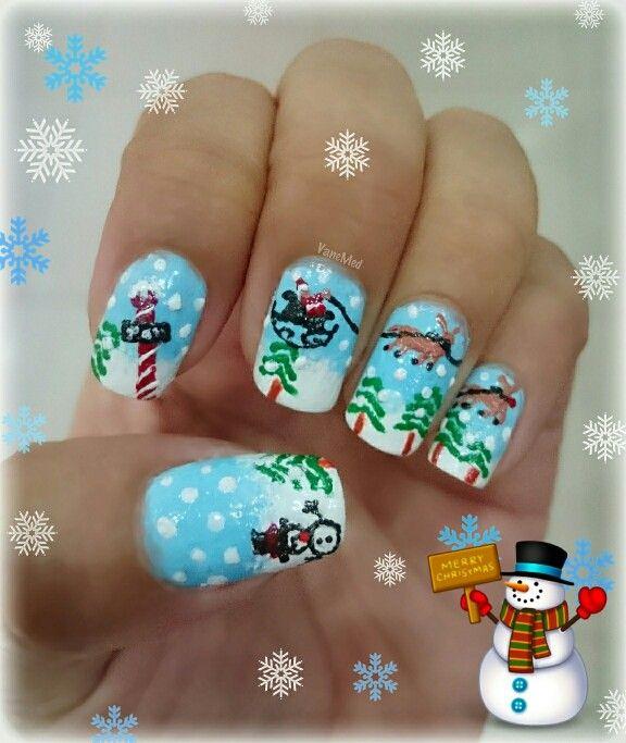 Mis #uñitas #navideñas #trineo #nieve #snow #navidad #christmas #snowman  #nail #art #design #diy #noel #polenorth