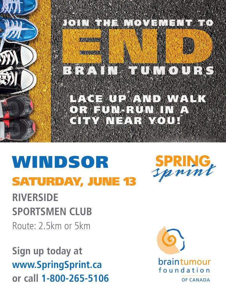 Hey Windsor, ON! Join us to be a part of the National Movement to End Brain Tumours! Saturday June 13, 2015. http://www.springsprint.ca/site/TR?fr_id=1218&pg=entry