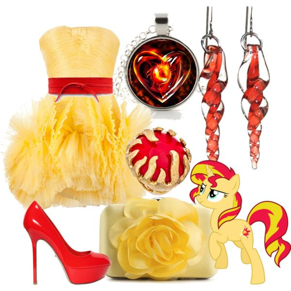 Sunset Shimmer My Little Pony Equestria Girls Rainbow Rocks inspired outfit - Dress heels, firey accessories make the look!