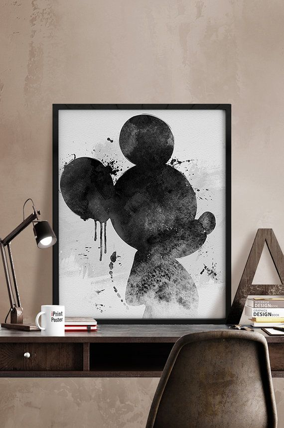 Mickey watercolor poster watercolor print by iPrintPoster on Etsy