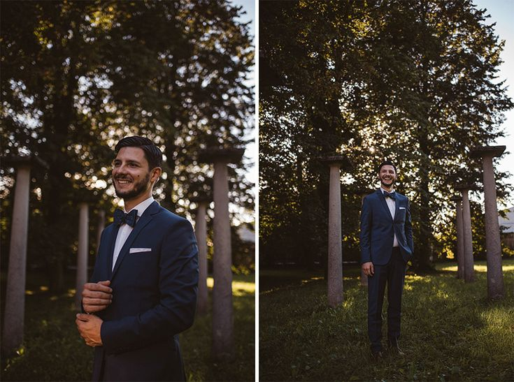 I love this elegant wedding photo portrait of the bride in the park. Grooms's attire by Hugo Boss.