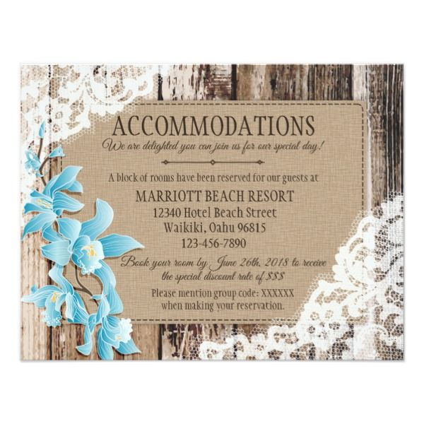 Rustic Orchid Wood Lace Accommodations Card Customizable Invitations #beach #summer #wedding #invitation