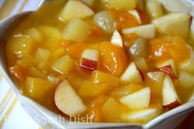 A classic favorite for years, this fruit salad is made with fresh apples, lite fruit cocktail, mandarin oranges, pineapple tidbits, and dressed with the fruit juices blended with instant vanilla pudding.