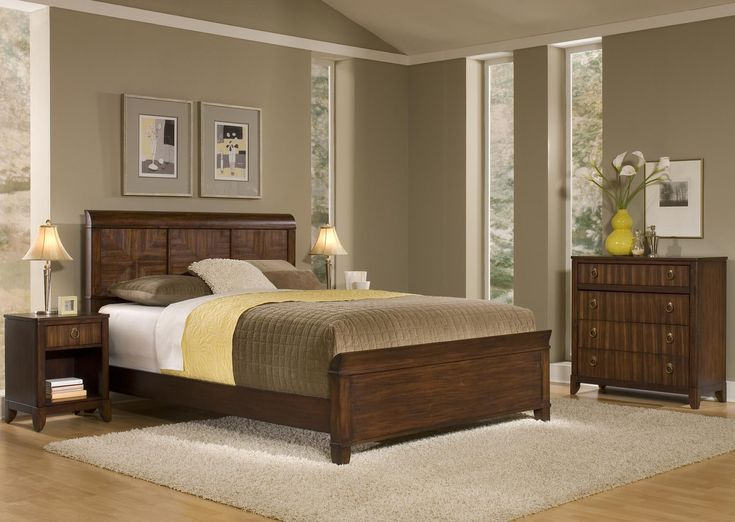 simple brown wooden bed with head board bed and combinated color bed linen also brown wooden