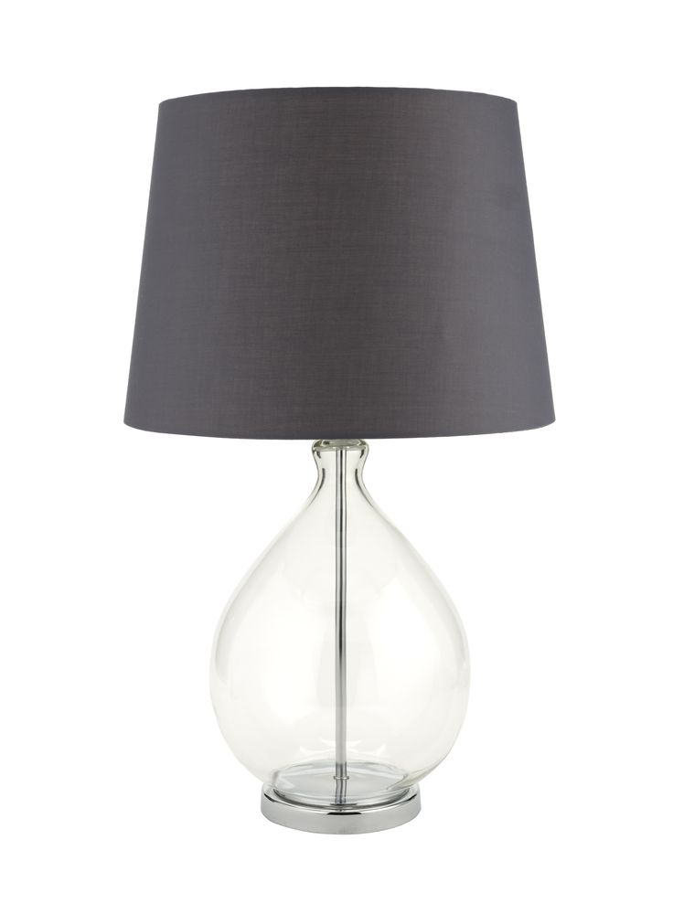 Glass exudes class in this simply elegant table lamp. The neat grey shade looks lovely alongside rose and berry colours. Priced at £45.