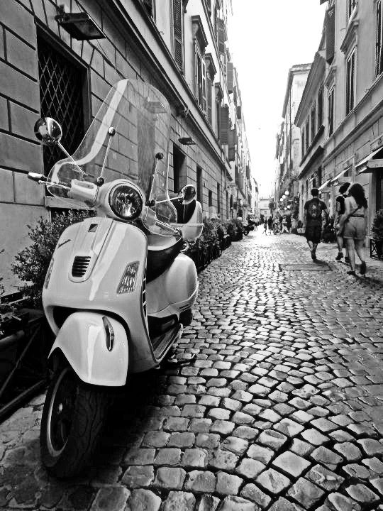 Italy vespa black and white photography